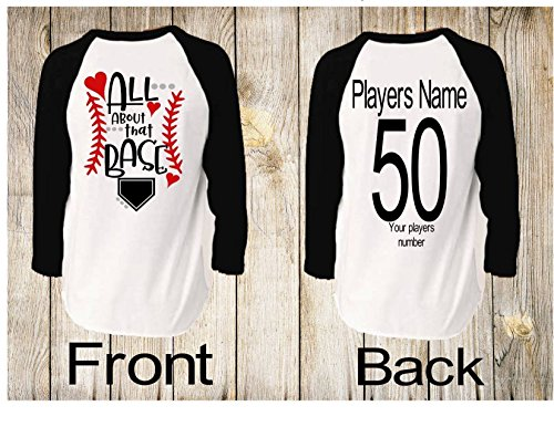 Handmade in America Personalized Unisex Raglan Baseball shirts for Moms Dads and Siblings All about that (Handmade Baseball)