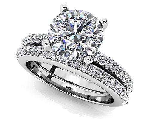 14K Or blanc deux rangées de diamants de mariage Ensemble