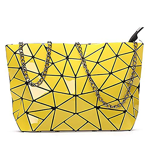 Women Geometric Purse Envelope Clutch Crossbody Shoulder Bag Pu Leather Tote Handbag Messenger Phone Bag Travel Wallet Beach Bag Evening Bags Chain Chest Sling Bag for Women (Yellow)
