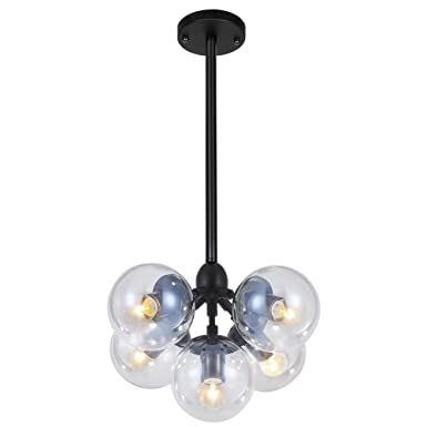 LAMPUNDIT Modern Chandelier 5 Light, Matte Black Finish with Globe Glass Shade, Industrial Vintage Ceiling Light Fixture UL Listed