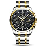 Whatswatch Carnival watches for Men Business Multifunction Steel Watchband Triple Windows Automatic Mechanical Gold bezel Silver watch case
