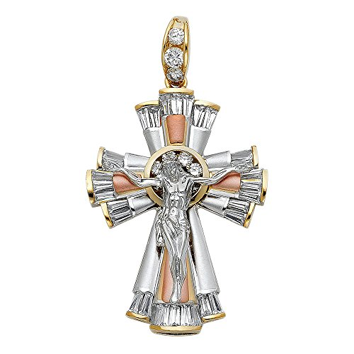 Solid 14k Yellow White Rose Gold Crucifix Charm Cross Jesus Pendant CZ Christ Religious Fancy 35 x 48 mm