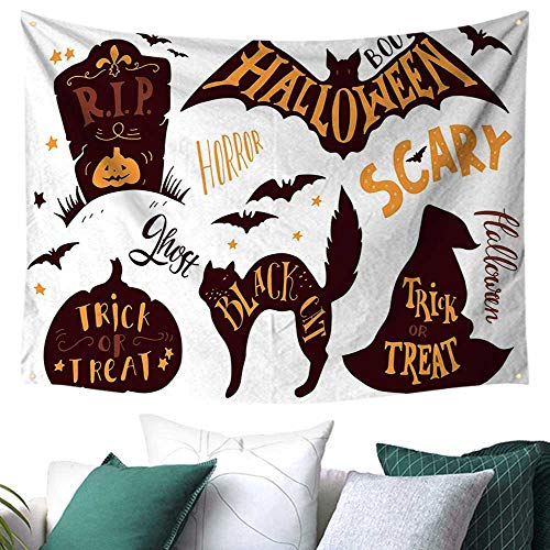 WilliamsDecor Vintage Halloween Wall Tapestry Hanging Halloween Symbols Trick or Treat Bat Tombstone Ghost Candy Scary Restaurant/Shop Decoration 72W x 54L Inch Dark Brown Orange -