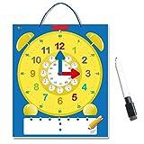 SpriteGru Magnetic Erasable Demonstration Learning Clock with Bonus Marker (24-Hour System Included)