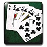 3dRose Alexis Photo-Art - Poker Hands - Poker Hands Royal Flush Clubs - Light Switch Covers - double toggle switch (lsp_270297_2)