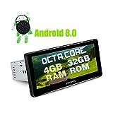 ALEGRÍA Coche estéreo Android 8.0 4 GB + 32 GB 8.8 pulgadas Navegación GPS Din único con Zlink Android Soporte automático OBDII DVR RCA Cámara de copia de seguridad Arranque rápido