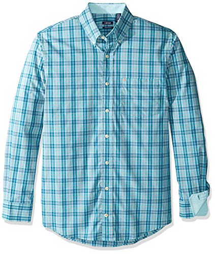 (IZOD Men's Big and Tall Button Down Long Sleeve Stretch Performance Plaid Shirt, Ocean Depths, Large)