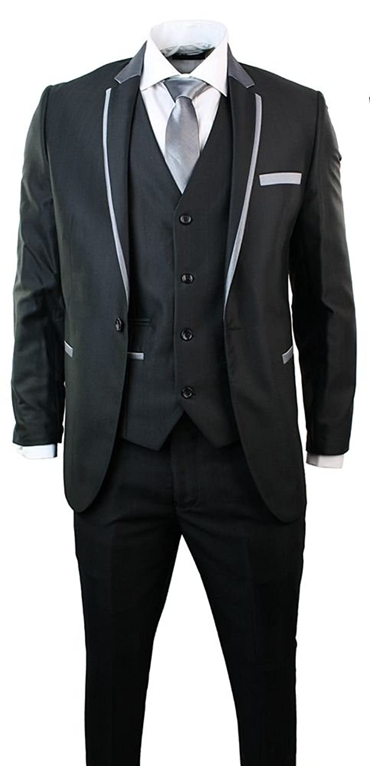 Marc Darcy Mens Shiny 3 Piece Suit Grey Trim Fitted Party Prom 1 ...