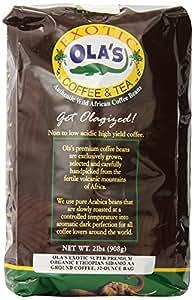 Ola's Exotic Super Premium Coffee Organic Fair-Trade Sidamo AA Ground Coffee, 32-Ounce Bag