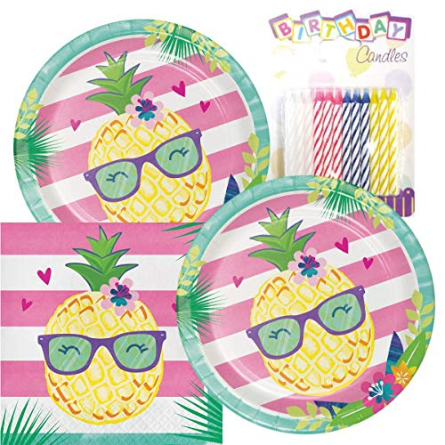 Pineapple N Friends Party Theme Plates and Napkins Serves 16 With Birthday Candles -