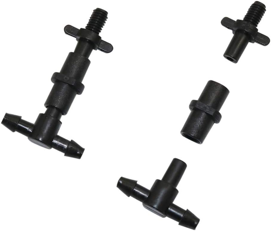 Barbed Connectors Drip Irrigation Garden Hose Splitters 4mm Barbed to 6mm Thread Tee Connector Agriculture Tools Hose Adapter Irrigation Fitting 300 Pcs (Color : Black) Black