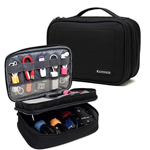 KAYOND Electronics Organizer Travel Cable Cord Bag Accessories Gadget Gear Storage Cases for Chargers Cables Powerbank Hard Drive,8 Inch Tablet (Black)