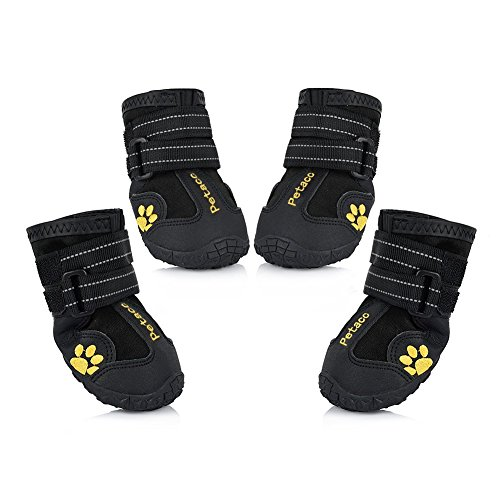 Petacc Dog Boots Water Resistant Dog Shoes for Large Dogs and Black Labrador 4 Pcs in Size 5 Black
