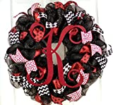 Monogram Mesh Door Wreath; black maroon burgundy red white