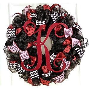 Monogram Mesh Door Wreath; black maroon burgundy red white 99