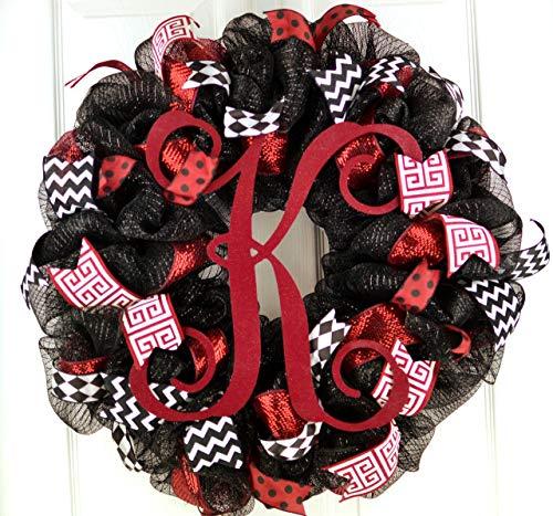 Monogram Mesh Door Wreath; black maroon burgundy red white ()