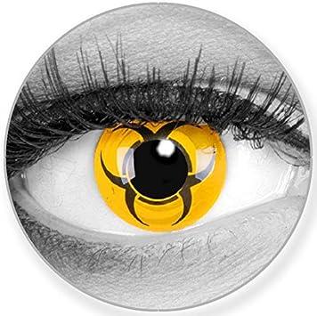 Funnylens Biohazard - Lentillas de color amarillo y negro - suave sin graduación - Pack de 2 + recipiente gratis - 12 lentes mensuales - perfecto para Halloween Carnaval o carnaval: Amazon.es: Salud y cuidado personal