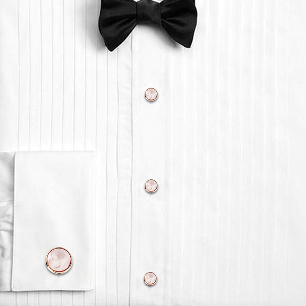 HAWSON Mother of Pearl Man Tuxedo Shirt Studs and Cufflinks Set for Wedding Business