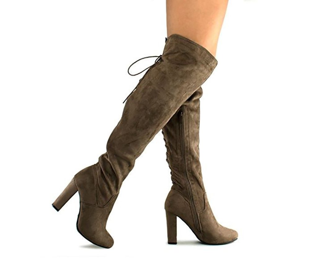 MVE Shoes Women's Thigh High Stretch Boot High Heel Shoe Sexy Over The Knee Pullon Boot Comfortable Easy Dk Taupe 9