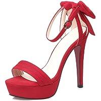 Zapatos Tacón,Punta Abierta Plataforma Impermeable Delgado Hebilla Satén Sandalias,Arco Verano Mujer Sexy/rojo / 39