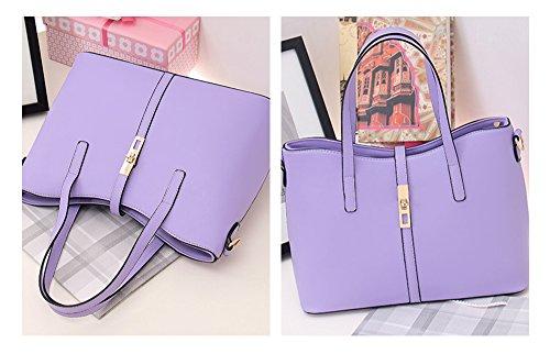 Purse Shoulder Bag Leather Women's Handbag PU Tote M 4pcs Set Card Holder Fashion Purple Tibes gwq0xURU