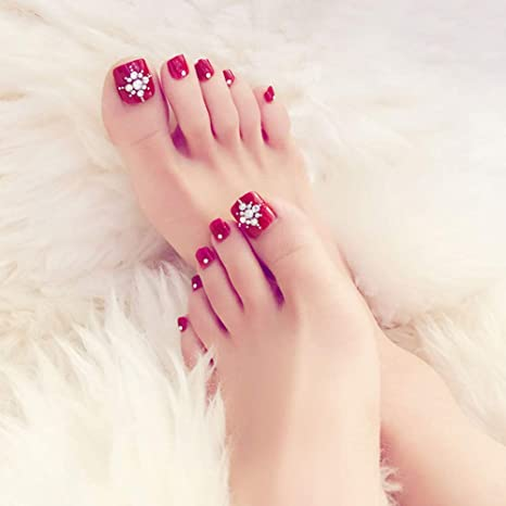 24 uñas de los pies francesas con diamantes de color rojo vino, uñas postizas para