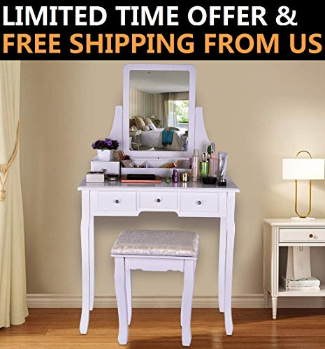 Riforla Vanity Set with Mirror Cushioned Stool Dressing Table Vanity Makeup Table 5 Drawers 2 Dividers Movable Organizers