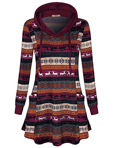 Miusey Hoodies for Women,Misses Casual Fitted Henley V Neck Pockets Patchwork Tunic Tops with Drawstring Hoods Reindeer Animals Printed Pattern Elk Clothing for Fall Orange Red L