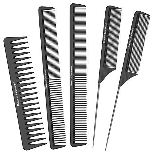 Salon Styling Combs | 5 Piece | Professional Black Carbon Fiber Hair Combs | Detangling Comb | Rat Tail Comb | Teasing…