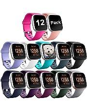 Zekapu para Fitbit Versa Correa, Bandas Repuesto Ajustable Pulsera TPU Sport Accesorio Pulsera para Fitbit Versa Pequeño Grande, 12 Colores