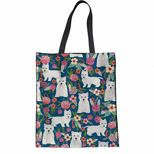 Coloranimal Durable Canvas Bag for Women Kawaii Westie Floral Pattern Plastic Bags