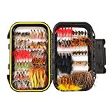 64/100/120PCS Fly Fishing Flies Trout,Dry Flies, Wet Flies, Streamer, Nymph, Emerger, Assorted Fly Fishing Lure Double Side Waterproof Pocketed Fly Box