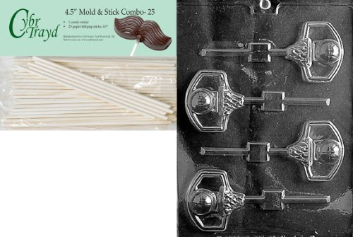 (Cybrtrayd 45St25-S075 Basketball and Net Lolly Sports Chocolate Candy Mold with 25-Pack 4.5-Inch Lollipop Sticks)