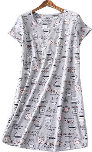 Luckytung Women's Nightgown Cotton Print Nightskirt Soft Tee Shirt Sleepwear CSQ01-Gray Cups-M