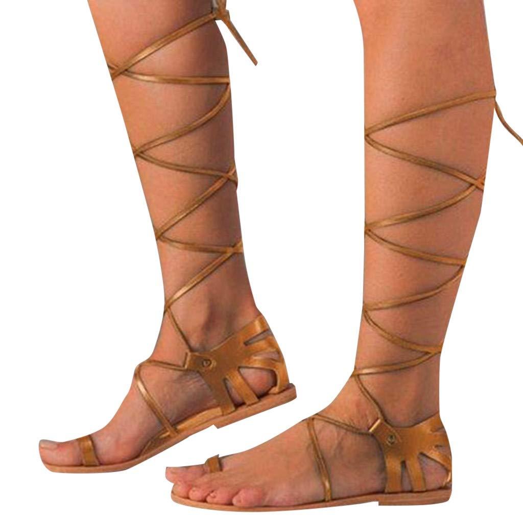 Woman Gladiator Roman Sandals Flat Bottom High Strap Lace Up Sandals Boho Open Toe Non Slip Beach Shoes Size 5-9