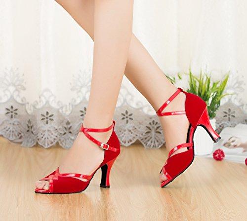 Miyoopark Womens Scarpe Da Ballo Tango Latino Pelle Scamosciata Fatti A Mano Sandali Da Sera Rosso-8cm Tacco