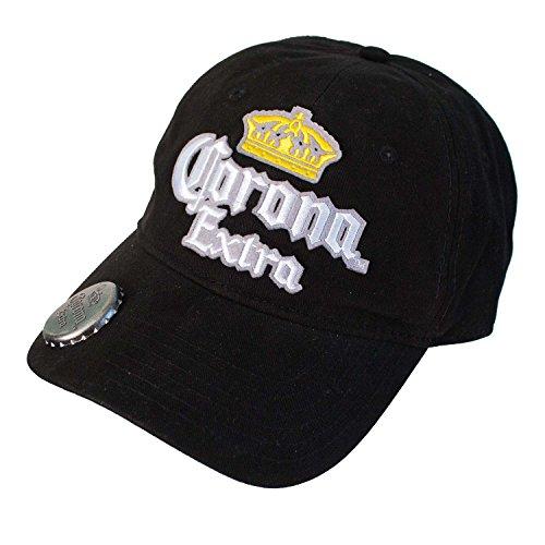 Bottle Opener Cap - Corona Men's Curve Adjustable Baseball Cap, Black, One Size