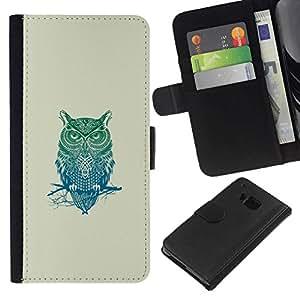 NEECELL GIFT forCITY // Billetera de cuero Caso Cubierta de protección Carcasa / Leather Wallet Case for HTC One M7 // Patrón Búho tribal