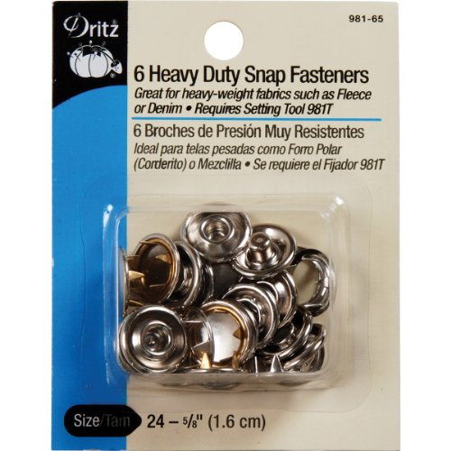 Dritz Heavy Duty Snap Fasteners-Nickel - Size 24 - 5/8 Inch - 6 (Fabric Snap)