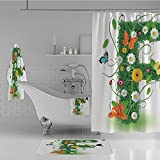 iPrint Bathroom 4 Piece Set Shower Curtain Floor mat Bath Towel 3D Print,with Animals and Flowers Butterflies Daisies,Fashion Personality Customization adds Color to Your Bathroom.
