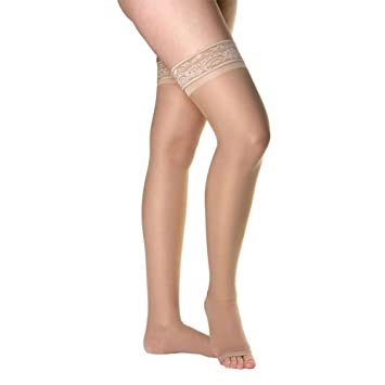 6d7431a08 Venosan Legline Open Toe Thigh Highs w Lace Band - 15-20 mmHg Nude Small  VL228NU  Amazon.co.uk  Health   Personal Care