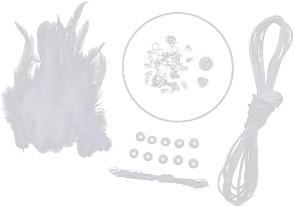 Kit de DIY Beige P Prettyia Accueil Pendentif Attrape-R/êve DIY Kit Capteur de R/êves Plumes D/écoration Maison Murale