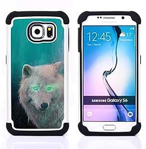 - white wolf green eyes alien forest magic/ H??brido 3in1 Deluxe Impreso duro Soft Alto Impacto caja de la armadura Defender - SHIMIN CAO - For Samsung Galaxy S6 G9200
