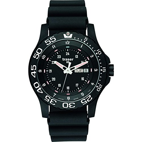 Traser 100378 P66 Elite Red Tactical Swiss Watch, Black Rubber Strap