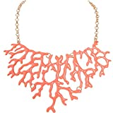 Humble Chic Mermaid Necklace - Coral Enamel Chainlink Statement Bib