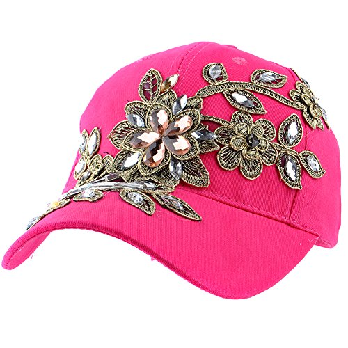 Hot Pink Denim - Elonmo rhinestone hats for women, Cute Big Lace Flowers Baseball Cap With Jewel Rhinestone Bling Hats Jeans Wash Denim Adjustable (Hot Pink)