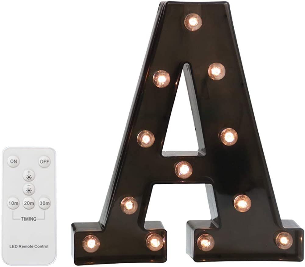 Pooqla LED Marquee Letters with Lights Alphabet Light Up Black Wall Letter Sign with Wireless Timer Remote Control Dimmable for Wedding Home Party Bar Decoration