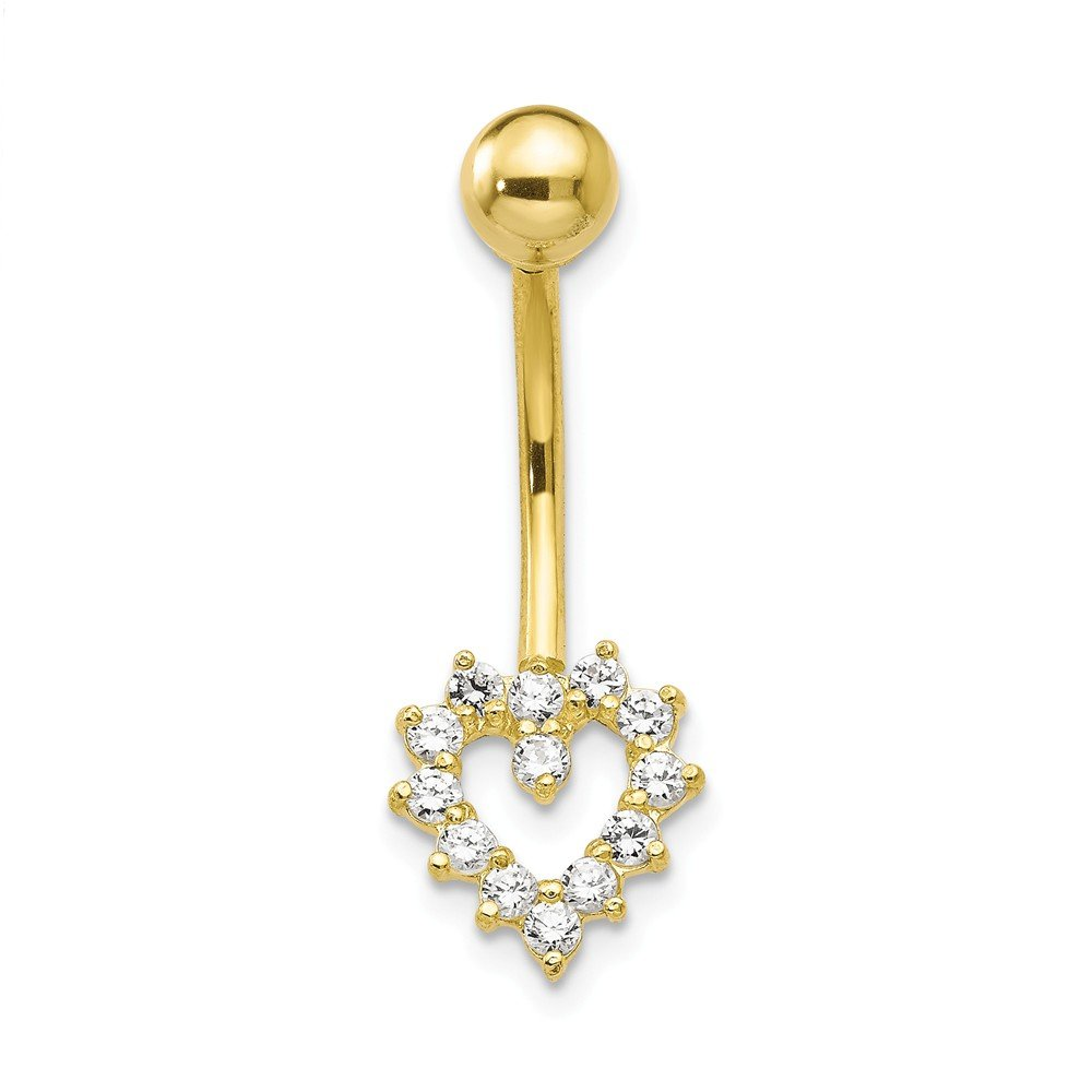 10k Yellow Gold With Cubic Zirconia Heart Belly Ring Dangle by JewelryWeb