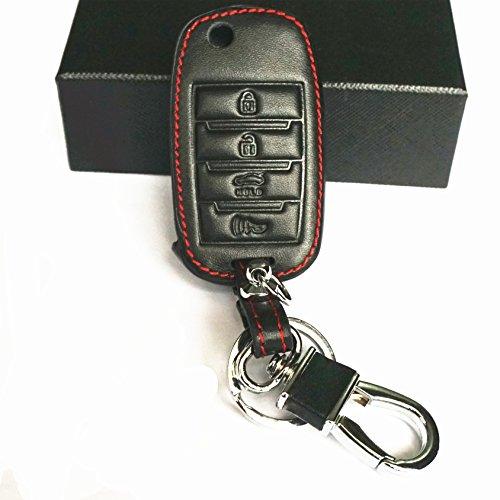 WFMJ New Black Genuine Leather 4 Buttons Remote Folding Flip Key Chain Holder Cover Case Fob For Kia Sorento Carens Forte Rio Soul Optima Sportage (Key Rio)