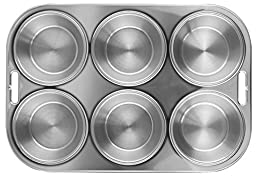 Fox Run 4867 Muffin Pan, 6 Cup, Stainless Steel